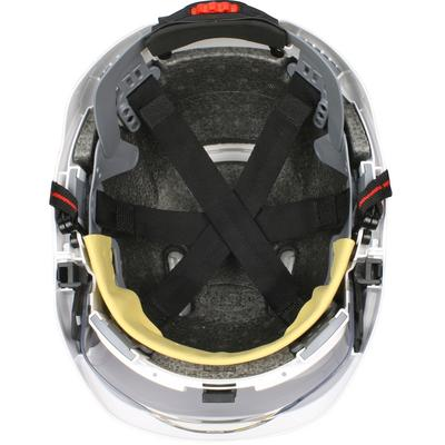 Protective Industrial Products 280-EVSV-CH Type I, Vented Industrial Safety Helmet with fully adjustable four point chinstrap, Lightweight ABS Shell, Integrated Faceshield, 6-Point Polyester Suspension and Wheel Ratchet Adjustment
