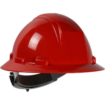 Protective Industrial Products 280-HP642R Type II Full Brim Hard Hat with HDPE Shell, 4-Point Textile Suspension and Wheel Ratchet Adjustment