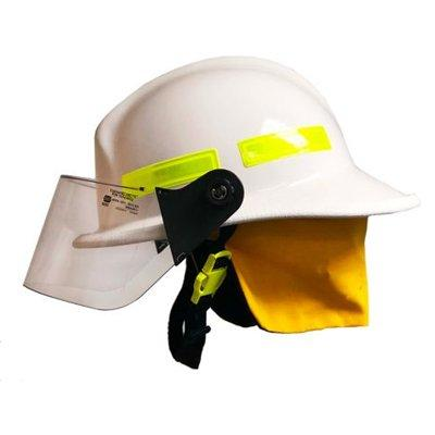 """MSA 660CFSW White, 4"""" Standard Faceshield, Standard Flannel Liner, Nomex Earlap, Nomex Chinstrap W/ Quick Release & Postman Slide, Lime/Yellow Reflexite, Bar"""
