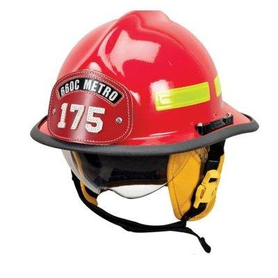MSA 660DSR Cairns 660C Metro W/ Defender, Red, Standard Flannel Liner, Nomex Earlap, Nomex Chinstrap W/ Quick Release &, Postman Slide, Lime/Yellow Reflexite, Bar
