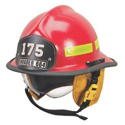 MSA 664DSR Cairns 664 W/ Defender, Red, Standard Flannel Liner, Nomex Earlap, Nomex Chinstrap W/ Quick Release & Postman Slide, Lime/Yellow Reflexite, Bar