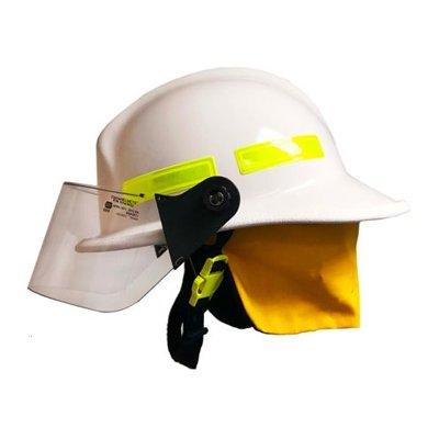 """MSA 664FSW Cairns 664, White, 4"""" Standard Faceshield, Standard Flannel Liner, Nomex Earlap, Nomex Chinstrap W/ Quick Release & Postman Slide, Lime/Yellow Reflexite, Bar"""