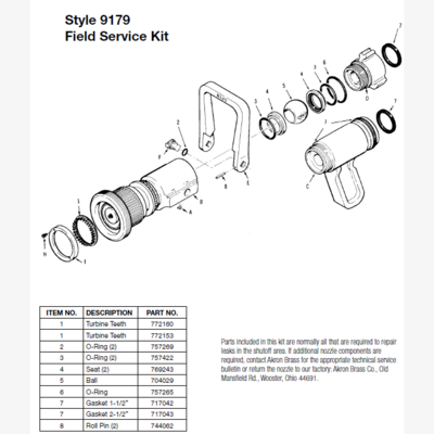 Akron Brass 9179 Field Service Kit for Style 1762, 1763, 4820, 4822, 4823, 4825, 4826, 4862, 4863