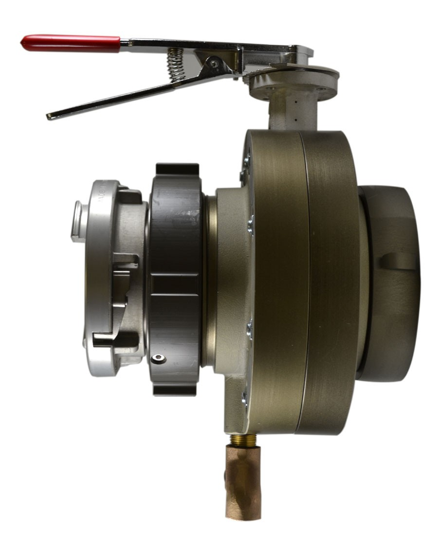 South park corporation BV7874ASH BV78, 6 National Pipe Thread (NPT) Female X 6 Storz  Butterfly Valve,with Chrome Plated Lever Handle