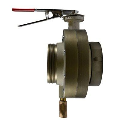 South park corporation BV7860ASH BV78, 6 National Standard Thread (NST) Female X 4 Storz  Butterfly Valve,with Chrome Plated Lever Handle