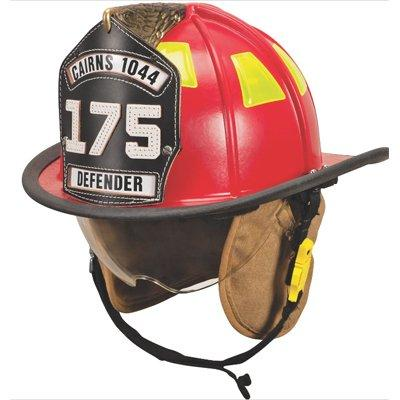"""MSA 1044DDR Cairns 1044 W/ Defender, Red, Deluxe Leather W/ Crown Pad, PBI/Kevlar Earlap, Nomex Chinstrap W/ Quick Release & Postman Slide, Lime/Yellow Reflexite, 6"""" Carved Brass Eagle"""
