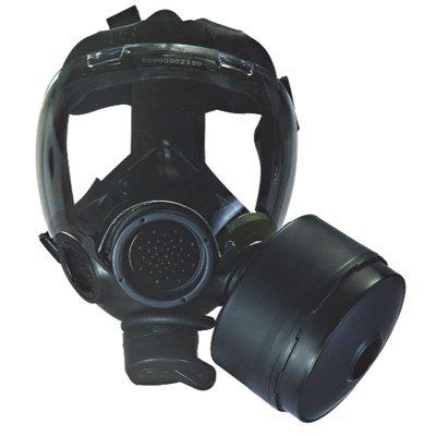 MSA 813861 Advantage 1000 Riot Control Gas Mask, Complete With Canister, Nosecup, And Identification Tag, Black