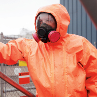 Dupont Tychem ThermoPro protective suit for toxic chemicals