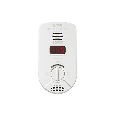 Kidde Fire Systems KN-COP-DP-10YB Worry-Free Bedroom Plug-in Carbon Monoxide Alarm with Sealed Lithium Battery Backup, Digital Display and Voice Alarm