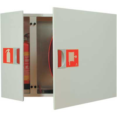 NOHA Model 31 fire hose reel and cabinet with equipment compartment