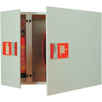 NOHA Model 31 SW swinging fire hose reel and cabinet with equipment compartment