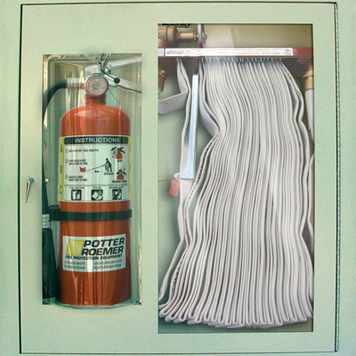 Potter Roemer 1656 bubble type fire hose and extinguisher cabinet