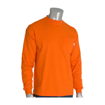 Protective Industrial Products 385-FRLS-OR-M flame-resistant long sleeve t-shirt