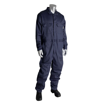 Protective Industrial Products 385-FRSC-NV-L coverall with zipper closure