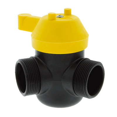 Scotty Firefighter 4050A 3-way valve with 1.5 inch NHT male threads