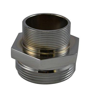 South park corporation HDM3202AC HDM32, 1 National Pipe Thread (NPT) Male X 1 National Standard Thread (NST) Male Nipple Brass Chrome Plated, Hex Adapter