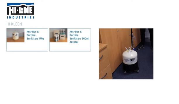 Hi-Line Demonstrates Their New Sanitizer Hi-KLEEN's Easy Application